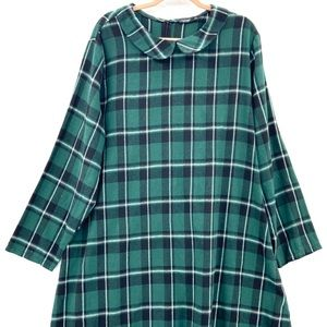 SHEIN Curve Green Plaid Dress Peter Pan Collar 4XL